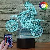 3D Ilusión Optica Moto Luz Nocturna 7/16 Colores Cambio de Botón Táctil Control Remoto USB de Suministro de Energía LED Lámpara de Mesa Lámpara Regalo de Navidad Cumpleaños