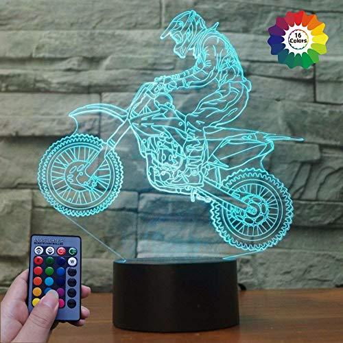 HPBN8 Ltd 3D Sport Motorrad Illusions LED Lampen Fernbedienung 7/16 Farbwechsel Tabelle Schreibtisch-Nacht licht USB-Kabel für Kinder Schlafzimmer Geburtstagsgeschenke Geschenk