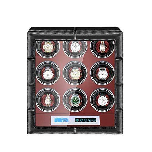 Mira Bobinadoras automáticas para 9 relojes Reloj de pulsera Caja de bobinado Caja de visualización de almacenamiento de relojes con motor silencioso y 15 modos de rotación para la mayoría de los