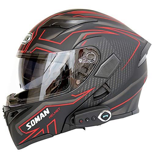GNB Cascos modulares de motocicleta Bluetooth+FM DOT Certificación, cascos de Touring abatibles...