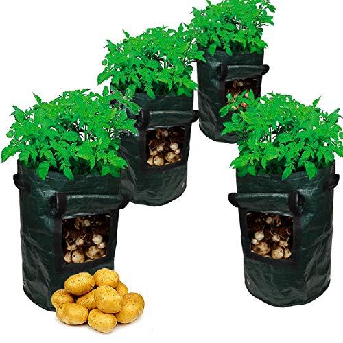 7DOO 4pz Sacchi per Piante 45 Lt, Sacche per Piantare Patate Pomodoro Fragole Zucchine Verdure, Vaso per La Semina di Piantine, Grow Bag per Il Vostro Balcone o Terrazzo Orto Fioriera, Tessuto PE