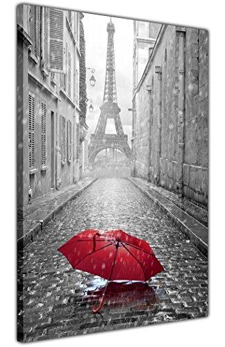 Canvas It Up Noir et Blanc Paris Tour Eiffel Photo avec Parapluie Rouge Impressions sur Toile Décoration Murale Taille : A4–30,5 x 20,3 cm (30 cm x 20 cm)