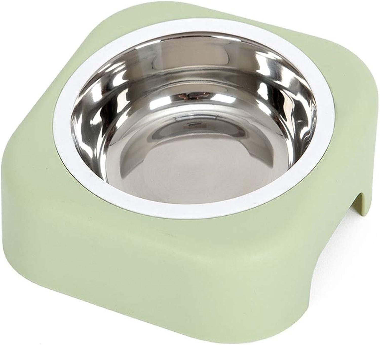 Pet Food Bowl Dog Bowl Dog Bowl Single Bowl Dog Bowl Tableware Antiflip Cat Food Dog Food Oblique Mouth Eating Bowl (color   Green)