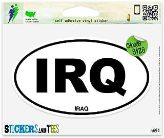 """Iraq IRQ Oval Vinyl Car Bumper Window Sticker 5"""" x 3"""""""