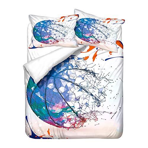YZDM - Juego de ropa de cama 3D de baloncesto impreso, funda de edredón y funda de almohada de microfibra para niños y niños (U,240 x 220)