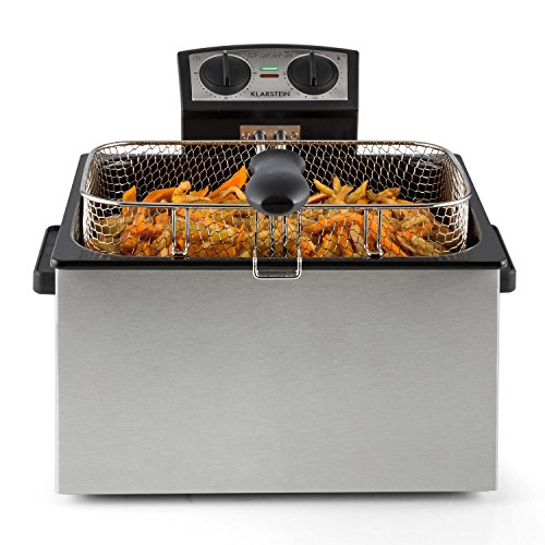Klarstein Quickpro XXL Professional Deep Fat Fryer with 5L Tank for up to 1.5kg – Cold Zone, 3000W – Stainless Steel Silver