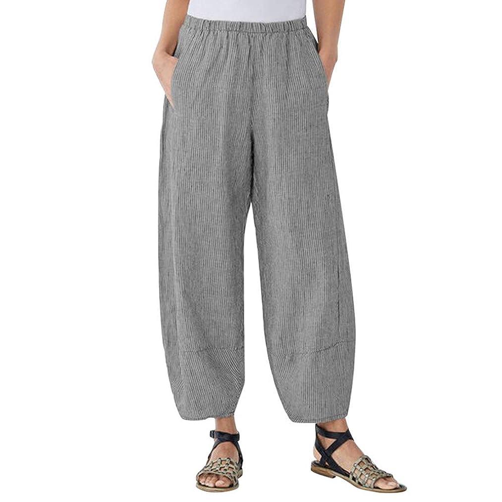 Chiccc Women Pocket Cotton and Linen Wide-Leg Pants,Plus Size Comfort Straight Wide Leg Loose Striped Pocket Trousers Pants