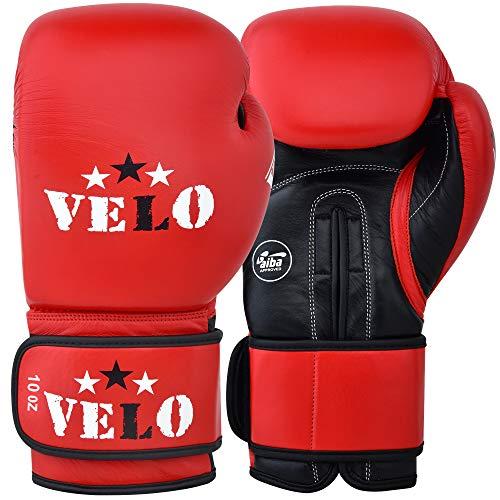 VELO AIBA Boxhandschuhe für Kampfwettbewerbe, zugelassene Handschuhe, rot, 284 g