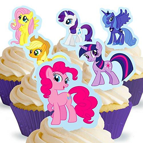 12 x Vorgeschnittene und Essbare My Little Pony Kuchen Topper (Tortenaufleger, Bedruckte Oblaten, Oblatenaufleger)