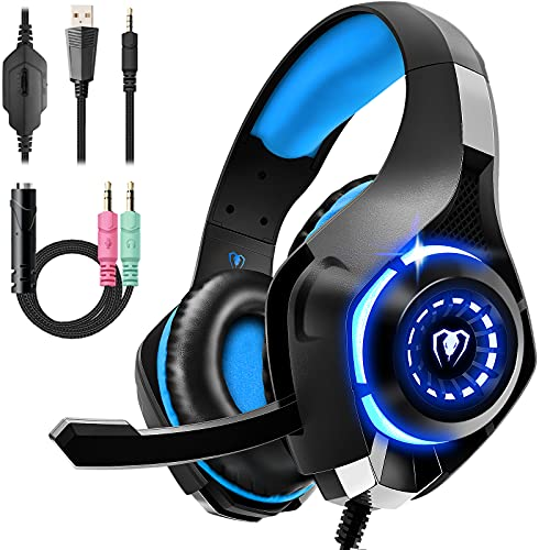 Cuffie Gaming per PS4 PS5 PC Xbox One Mac con Microfono Stereo Bass Deep Cuffie con 3.5mm Jack, Controllo del Volume