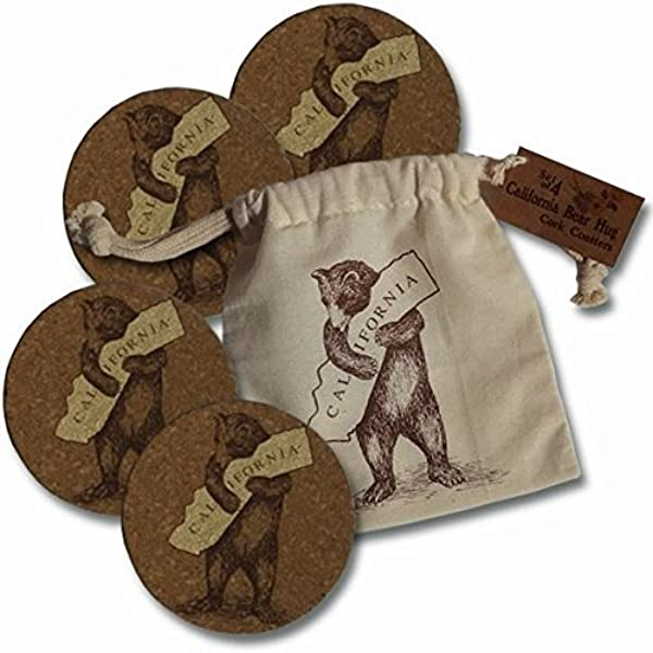 California Bear Hug I Love California Set Of 4 Cork Coasters