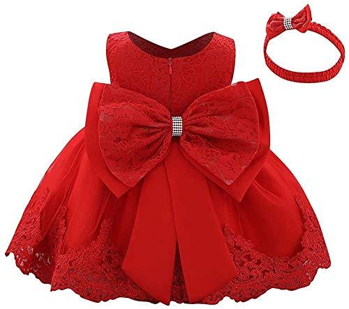 WOCINL Vestidos de flores de encaje con lazo, princesa, boda, cumpleaños, desfile, bautizo, tutú con sombrero