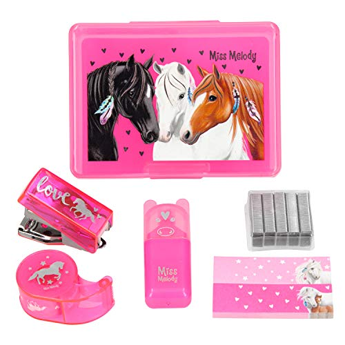 Depesche 5776 Mini Schreibtischset in Box mit Pferdemotiv, Miss Melody, sortiert