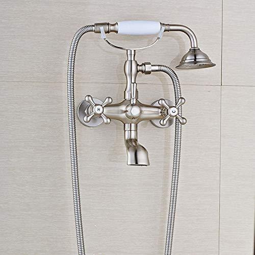 KUNEIX Badewanne Wasserhahn Antike Messing Badewanne Wasserhahn Wand Swive Auslauf Badewanne Mischbatterie mit Handbrause Handbrause Mixer Wasser Set, gebürstetem Nickel