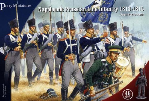 Napoleonic Wars Plastic Toy Soldiers Kit 28mm Napoleonic Prussian Line Infantry 1813-15 (46) Model Figures Wargaming Set