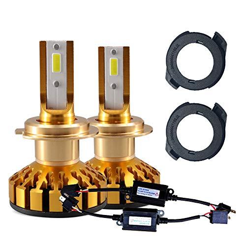 Ampoules de phares à DEL 9004, 72W, 7600lm, 6500K, blanc, lampe de brouillard, kit de conversion tout-en-un, phare automatique 12v, 2 pièces