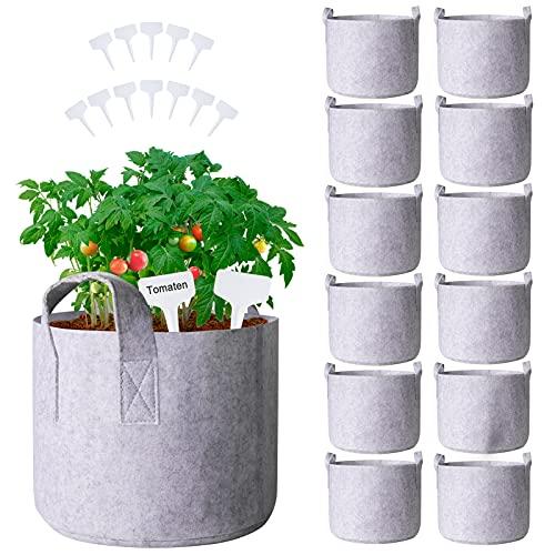 Pflanzsäcke für draussen, 12L, 12 Stück Pflanzensack Tomaten mit Griffe-ungefähr 3 Gallonen,Wiederverwendbarer Pflanzsack für Anbau von Gemüse und Frücht
