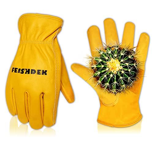 FEISHDEK Leder Handschuhe Arbeitshandschuhe Herren Gartenhandschuhe Dornenfest Damen Kaktus Schutzhandschuhe