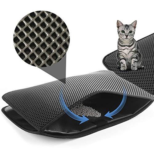 CLORIS Large EVA Cat Litter Mat, 28 in Litter Trapping Mat Litter Locker cat mat, Cat Litter Box Mat Scatter Control,Dual Layer Honeycomb Design, Washable Waterproof (cat Litter mat)