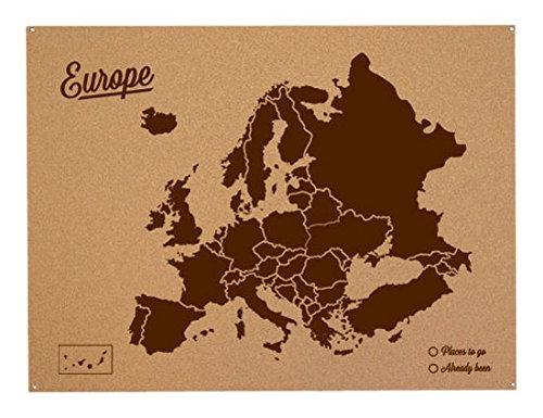 Miss Wood Mapa de Europa de Corcho, Pino, Marrón, L-45x60CM