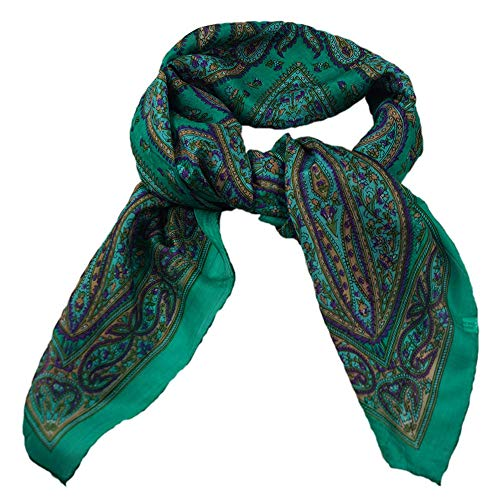 musimon Tuch Seidentuch Schal Paisley Muster 100% Seide, ca. 100 cm x 100 cm, smaragdgrün türkis
