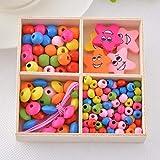 Unbekannt 1 Box Multicolor Holz Perlen Box Lächeln DIY Schmuck Geschenk Für Kinder Halskette Armband Schmuck Machen, Stern