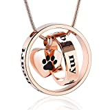 memorial jewelry Forever in My Heart,No Longer by My Side Cremation Pet Urn Necklace Screw Opens and Lock Ashes Pendant Jewelry for Dog Cat