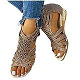 Dasongff Sandalias para mujer, cómodas, con plataforma, de malla, para estar por casa, para verano, playa, viajes, planas, elegantes, con tacto descalzo.