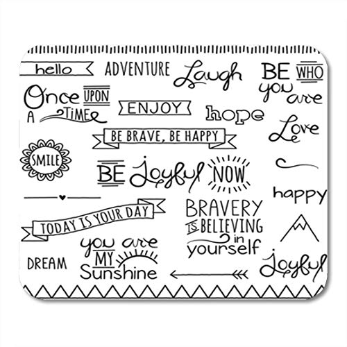 Gaming Mouse Pad Doodle Collection of Hand Inspirational Drawn Words and Phrases Decor Office Nonslip Rubber Backing Mousepad Mouse Mat