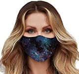 Washable Face Mask with Adjustable Ear Loops - 3 Layers, 100% Cotton Inner Layer - Cloth Reusable Face Protection with Filter Pocket - Made in USA -Suitable Both Indoor & Outdoor (Galaxy)