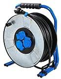AS-Schwabe 10729 - Carrete alargador de cable profesional (metal, 40m, H07RN-F 3G1,5, IP 44)