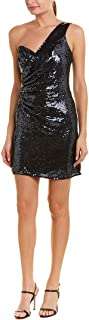 Womens Queenie Sequined One Shoulder Cocktail Dress Navy S