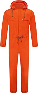 AOWOFS Men's Jumpsuit Drawstring Belt Hooded Dungarees Romper Suit Stylish Long Sleeve One-Piece Workwear Overalls
