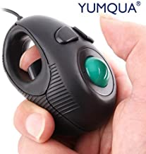 YUMQUA Y-01 Portable Mini Finger Hand Held 4D USB Wired Trackball Mouse for Laptop Mac Window Computer Fits Left and Right Handed Users -Black