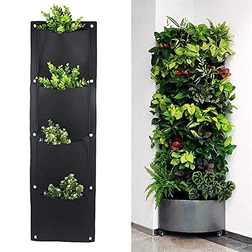 Ridecyle Vertikale Wand-Pflanzer mit 4 Taschen, Wandbehang-Gartenzaun-Pflanzgefäße wachsen Tasche für Innen/Außen, Wasserrückhalte-Filzmaterial schafft perfekten Bodenzustand