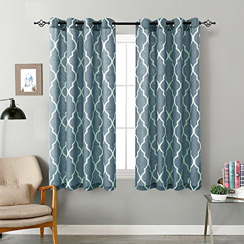 Moroccan Tile Printed Curtains Bedroom Blue on Flax Linen Textured Window Drapes for Living Room Quatrefoil Flax Linen Blend Lattice Print Curtains 72 inch Length 2 Panels