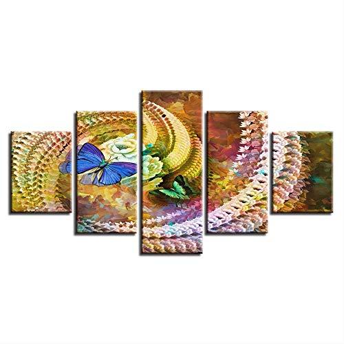 Peinture sur Toile Modulaire Mur Art Affiche Abstraite 5 Pièces Papillons Et Belle Spirale Fleurs Photos Décor À La Maison Taille 1 sans Cadre