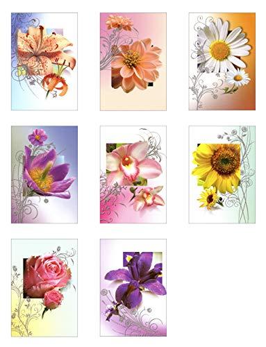 50 Grußkarten Allgemeine Glückwünsche mit Blumen ohne Text 11,5 x 17 cm Glückwunschkarten Taunus Grußkarten Verlag 99-1920