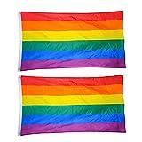 Toyvian 2Pcs Bandera de Arco Iris Bandera LGBT Grande con Bandera de Orgullo con Ojales de...