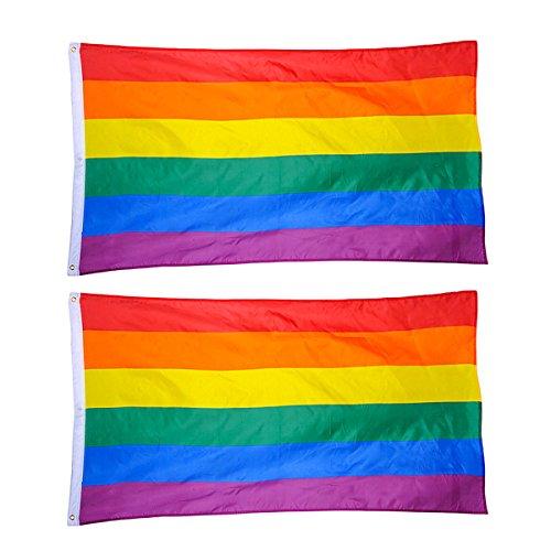 Amosfun 3x5ft Regenbogen Flagge Große LGBT Pride Flag Banner mit Messing-Ösen