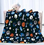 Fancy Linen Faux Fur Flannel Baby Blanket with Sherpa Backing Warm and Cozy Stroller or Toddler Bed Blanket 40'x 50' Baby Boys Kids Throw Sport Baseball Football Basketball Navy Blue Base New