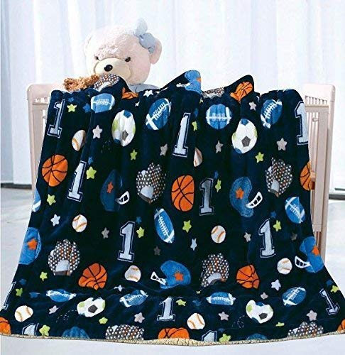 Fancy Linen Faux Fur Flannel Baby Blanket with Sherpa Backing Warm and Cozy Stroller or Toddler Bed Blanket 40