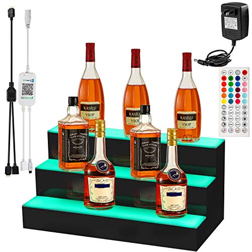 VEVOR LED Lighted Liquor Bottle Display Shelf, 24-inch LED Bar Shelves for Liquor, 3-Step Lighted Liquor Bottle Shelf for Home/Commercial Bar, Acrylic Lighted Bottle Display with Remote & App Control