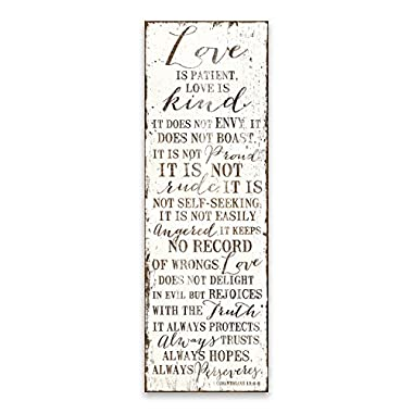 Artissimo Designs Love Never Fails 1 Corinthians 13:4-8 Typography White Wood Style Printed Canvas 12W x 36H x 1.5D