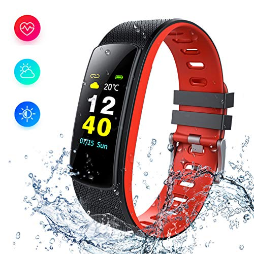 i6HR-C Fitness Armband Uhr mit Pulsmesser Wasserdicht IP67 Fitness Tracker Aktivitätstracker Pulsuhren Bluetooth Smart Armbanduhr ür iPhone Android Handymonitor (RED)