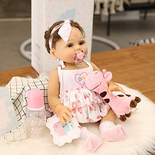 Zero Pam Reborn Babypuppen Ganzkörpersilikon, 45 cm Realistische Reborn Babypuppen Mädchen, lebensechte waschbare Badebabypuppen für Kinder ab 3 Jahren