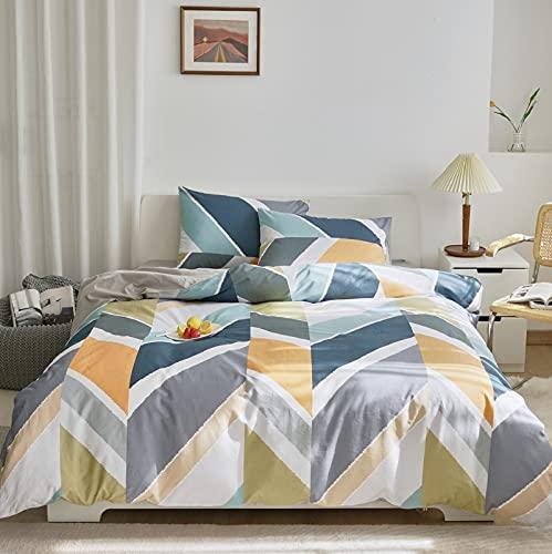 GETIYA Ropa de cama de 135 x 200 cm, de algodón, diseño geométrico, con estampado de diamantes, de algodón, 2 piezas, con funda de almohada de 80 x 80 cm