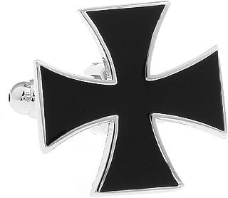 MRCUFF Cross Black Pair Cufflinks in a Presentation Gift Box & Polishing Cloth