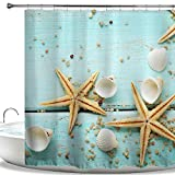 HIYOO Bathroom Seashell Shower Curtain Sets, Blue Wooden Board Starfish Conch Scree Bathtub Shower Curtain with Hooks, Excellent Waterproof Fabric 72' W x 72' L