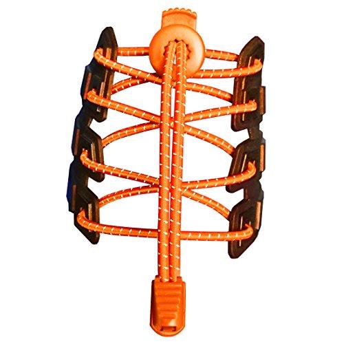 Canwn [2 Pares] Cordones Elásticos para Zapatos, Atar y Sin Nudo Reflexivo Cordones de Zapatos con Longitud de 120cm para Maratón y Triatlón Atletas,Corredores,Niños, Ancianos,Discapacitado(Naranja)